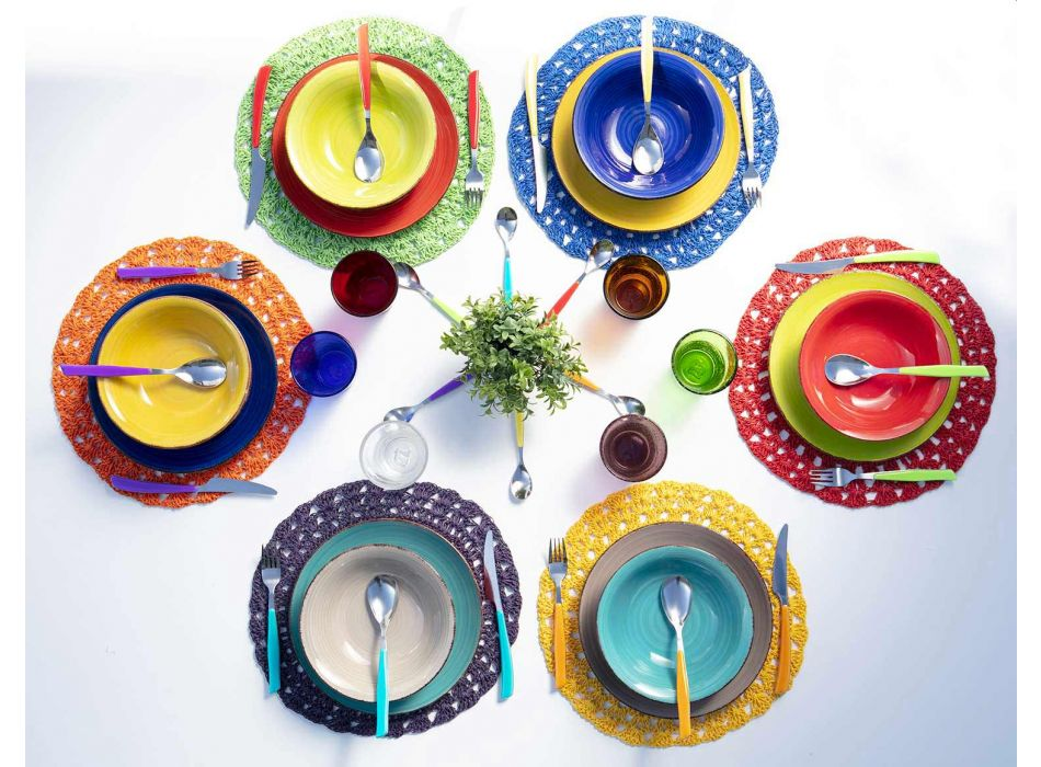 12 Brýle Water Craft Service of Color Blown Glass - Yucatan