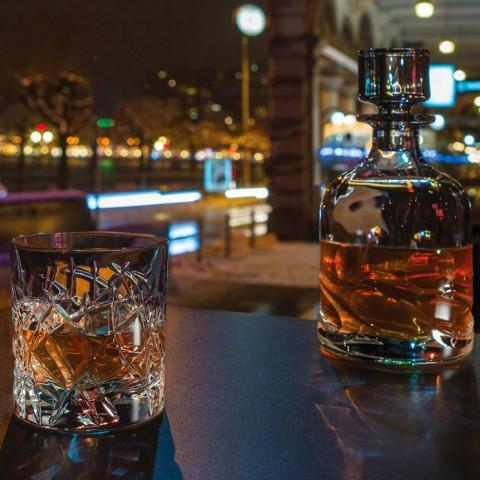 12 klasických brýlí Dof na vodní nebo whisky design v křišťálu - titan