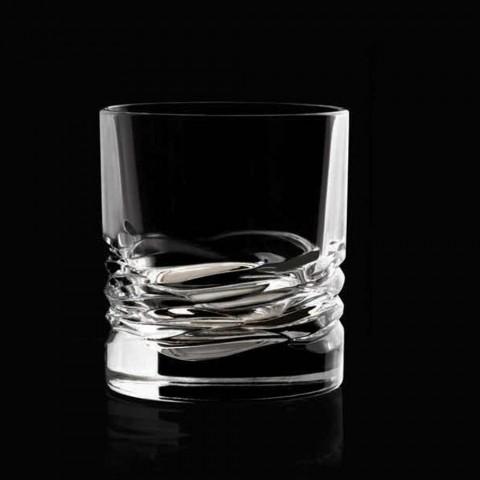 12 křišťálových brýlí Wave Decor pro vodu na whisky nebo Dof Tumbler - titan