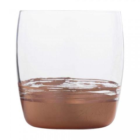 12 nízkých sklenic na vodu se zlatým, platinovým nebo bronzovým listem - Soffio