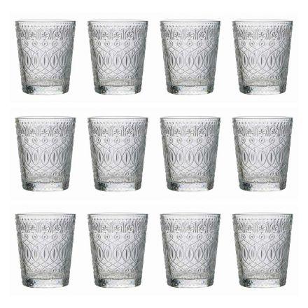 12 sklenic sklenice na vodu v zdobeném průhledném skle - maroccobic