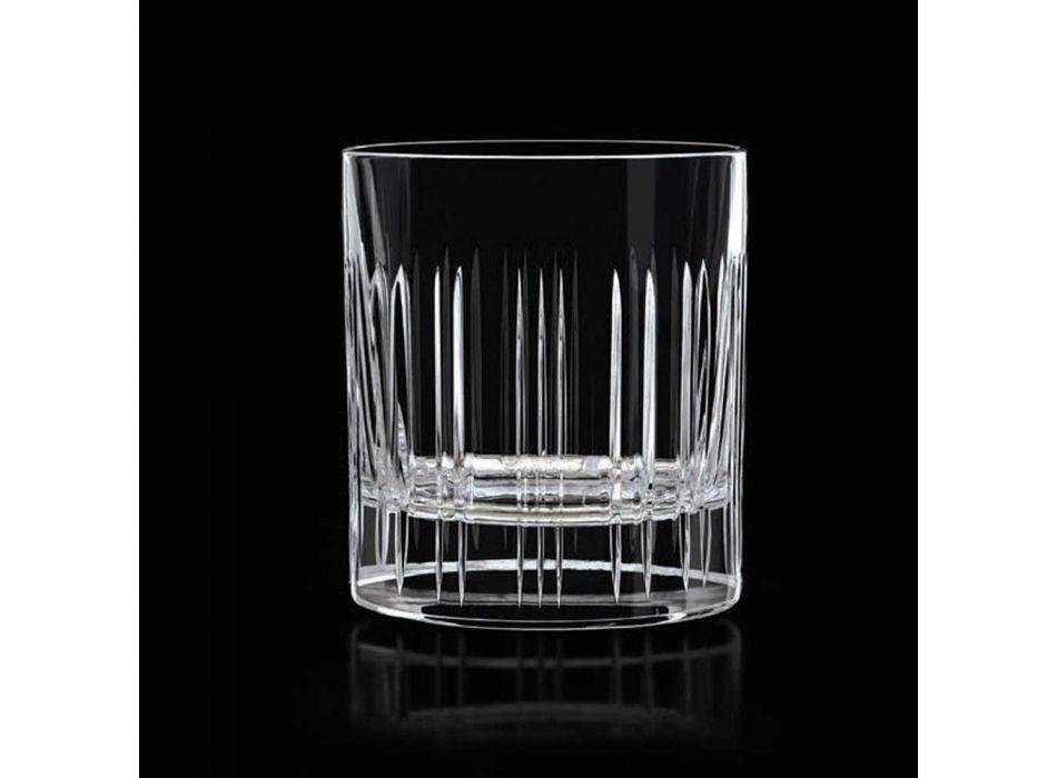 12 sklenic na whisky nebo křišťálovou vodu s luxusní lineární dekorací - arytmie