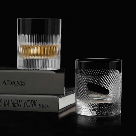 12 sklenic na whisky nebo na vodu v ekologickém křišťálově zdobeném retro designu - hmatové