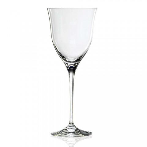 12 sklenic na bílé víno v ekologickém křišťálu Minimální luxusní design - hladký