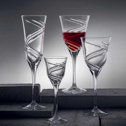 12 sklenic na šampaňské s flétnou v inovativním zdobeném ekologickém křišťálu - cyklon