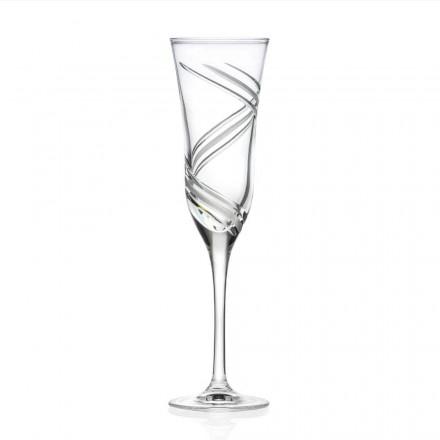 12 sklenic na šampaňské s flétnou v dekorovaném ekologickém křišťálu vyrobené v Itálii - Cyclone