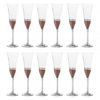 12 pohárů z křišťálové flétny s luxusním zlatým bronzem nebo platinovým listem - Soffio