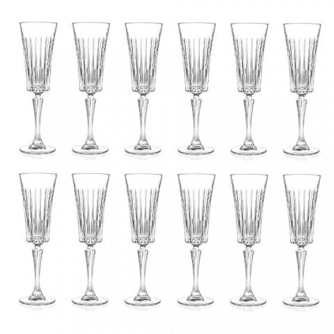 12 flétnových sklenic na sekt s lineárními řezy v dekoraci Eco Crystal - Senzatempo