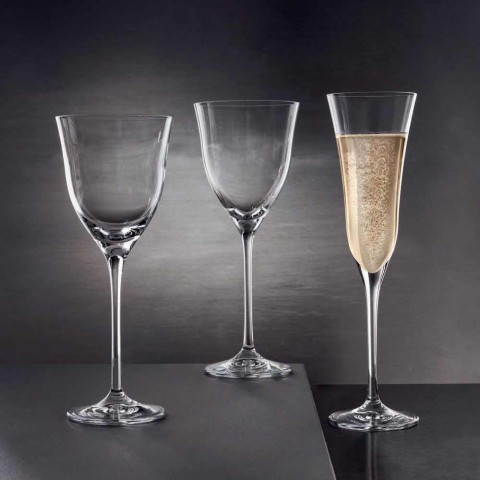 12 flautových brýlí v ekologickém luxusním křišťálovém minimálním designu - hladké