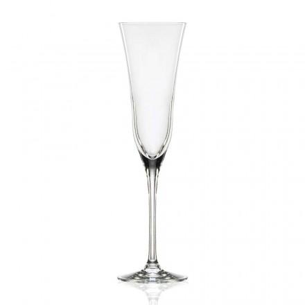 12 flautových brýlí v ekologickém luxusním křišťálu, minimální design - hladký