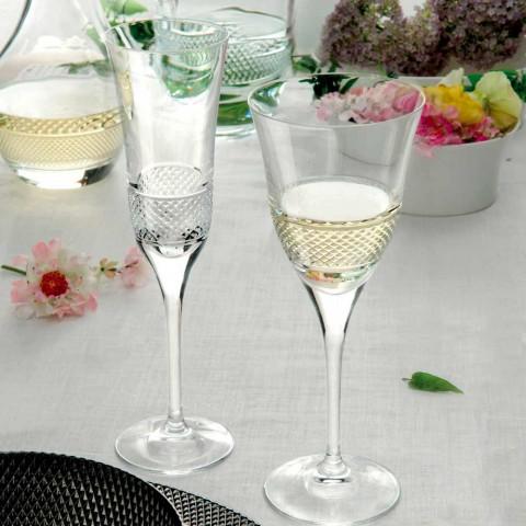 12 flautových sklenic na šampaňské v ekologickém křišťálu s ruční dekorací - Milito