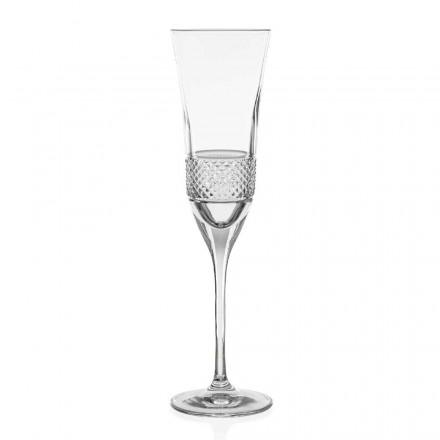 12 ekologických křišťálových skleniček na šampaňské, ručně zdobené - Milito