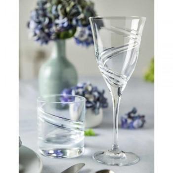 12 sklenic na bílé víno v zdobeném a saténovém ekologickém křišťálu - cyklon