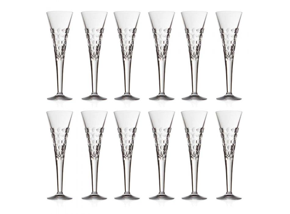 12 sklenic na víno Fluter brýle na křišťálové bubliny - Titanioball