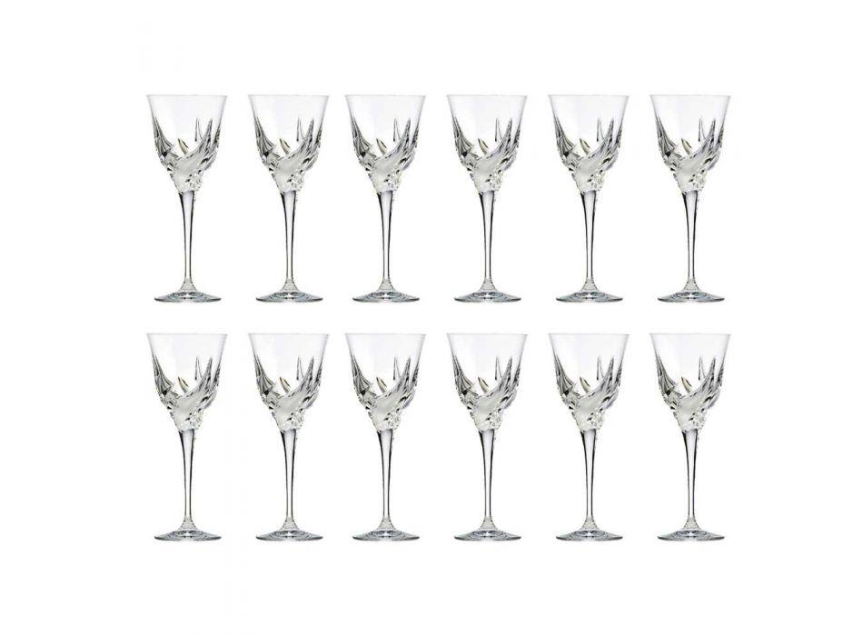 12 luxusních designových sklenic na bílé víno v ručně zdobeném ekologickém křišťálu - advent
