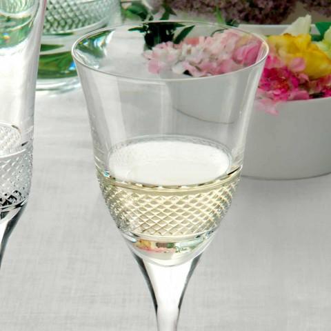 12 sklenic na bílé víno v ekologickém křišťálovém luxusním zdobeném designu - Milito