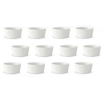 12 moderních bílých porcelánových zmrzlinových nebo ovocných šálků - Egle