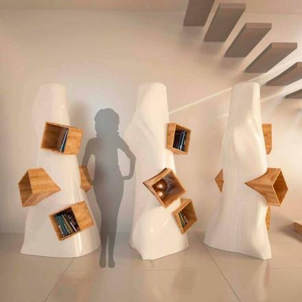 Moderní designová knihovna v dřevě a K2 Solid Surface vyrobená v Itálii