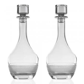 2 lahve na víno s kulatým designem víka ekologického křišťálu - Milito