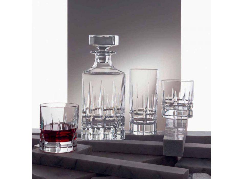 2 lahve na whisky s krystalovým víčkem čtvercového designu s víčkem - Fiucco