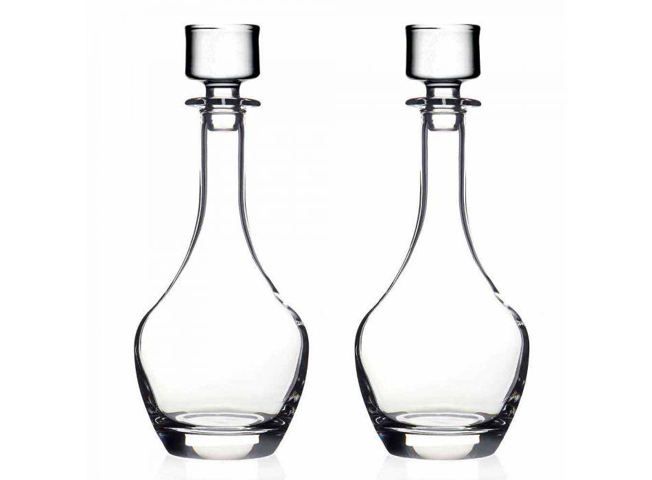 2 lahve na víno v ekologickém křišťálovém italském minimálním designu - hladké