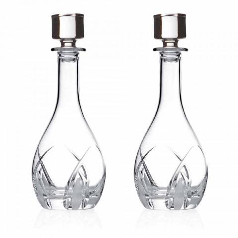 2 lahve na víno s kulatým víkem v provedení Eco Crystal - Montecristo