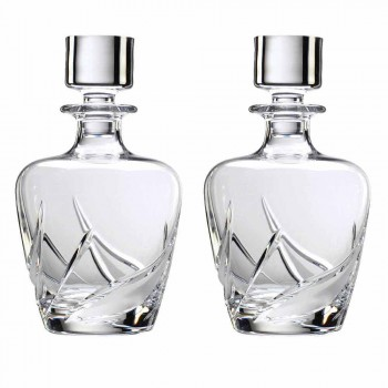 2 křišťálové láhve na whisky s luxusně zdobeným designovým víčkem - adventní