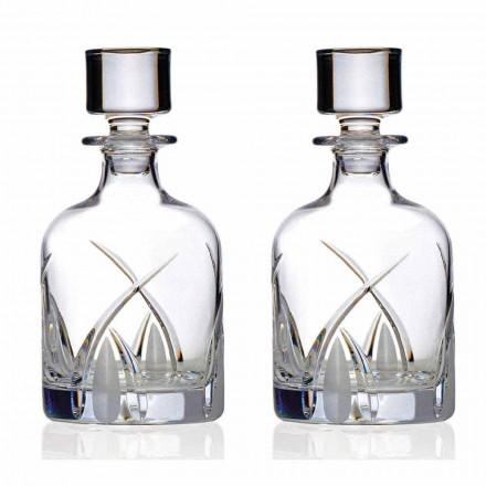 2 láhve na whisky s víčkem válcového designu v provedení Eco Crystal - Montecristo