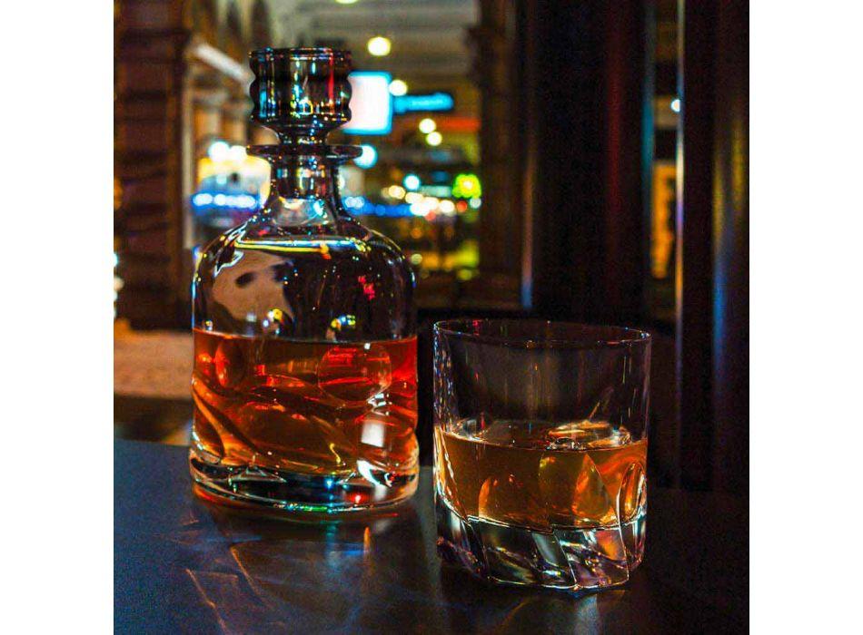 2 lahve na křišťálovou whisky s ekologickým zdobením a luxusní designový uzávěr - titan