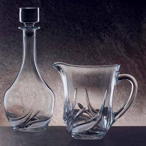 2 džbány na vodu v ekologickém křišťálu s luxusními dekoracemi vyrobené v Itálii - advent