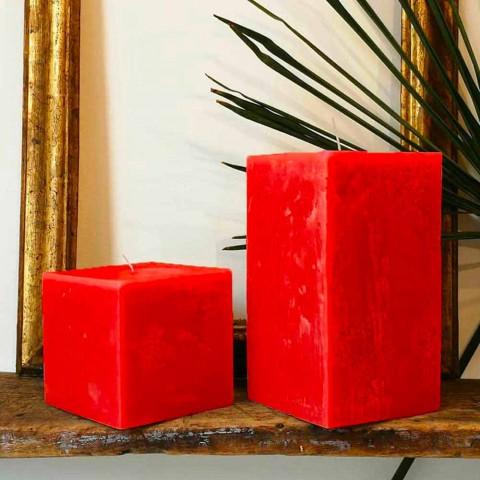 2 čtvercové svíčky různých velikostí ve vosku vyrobené v Itálii - Adelle