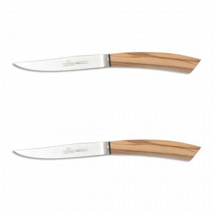2 steakové nože s rukojetí v Ox Horn nebo dřevo vyrobené v Itálii - Marino