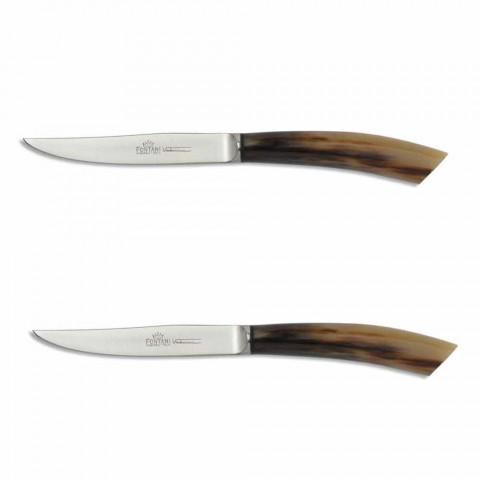 2 steakové nože s rohovou nebo dřevěnou rukojetí vyrobené v Itálii - Marino
