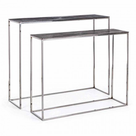 2 Consolle in Steel and Plated Aluminium Modern Design Homemotion - Narnia