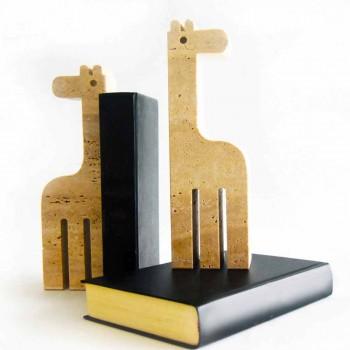 2 záložky v travertinovém mramoru ve tvaru žirafy vyrobené v Itálii - Morra