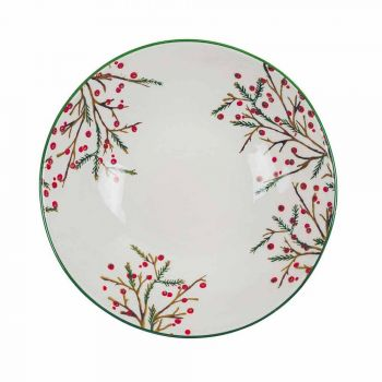 2 salátové mísy s vánočními dekoracemi v porcelánových servírovacích talířích - řeznické koště
