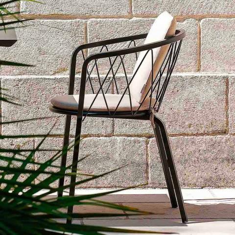 2 venkovní křesla z lakovaného kovu stohovatelná Vyrobeno v Itálii - Adia