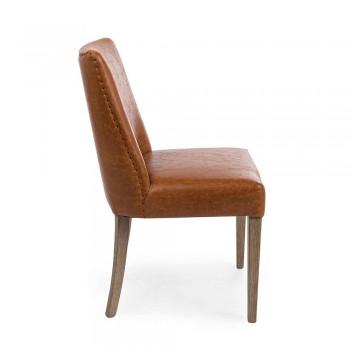 2 designová židle z hnědé koženky a dubového dřeva Homemotion - Gallia