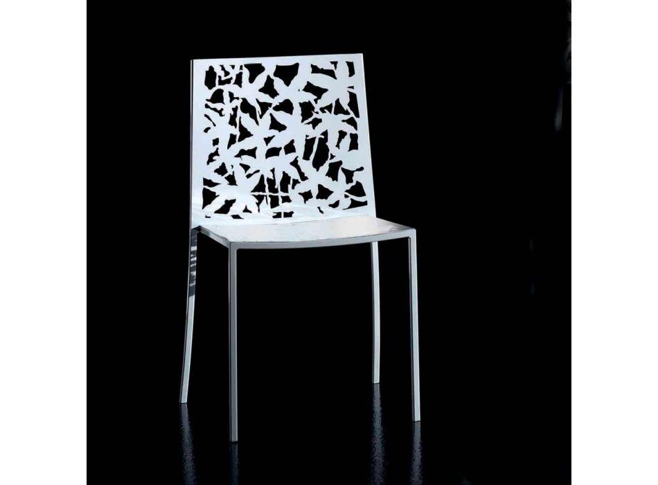 2 židle z bílého kovu vyřezávané laserem v moderním designu - Patatix