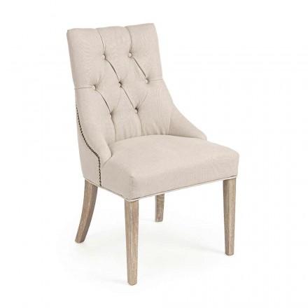 2 moderní lněné židle se strukturou dubového dřeva Homemotion - Barna