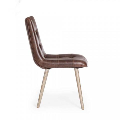 2 moderní židle v průmyslovém stylu potažené koženkou Homemotion - Riella