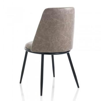 2 moderní jídelní židle z koženky a matného černého kovu - Frizzi