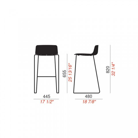 2 vysoké stoličky v kovu a polypropylenu Vyrobeno v Itálii - Chrissie