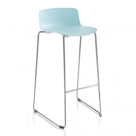 2 vysoké barové stoličky z kovu a polypropylenu Vyrobeno v Itálii - Chrissie