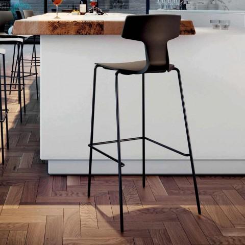 2 stohovatelné barové stoličky z kovu a polypropylenu vyrobené v Itálii - Arlette