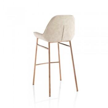 2 moderní kovové stoličky s sedákem z mikrovlákna nebo imitace kůže - Bellino