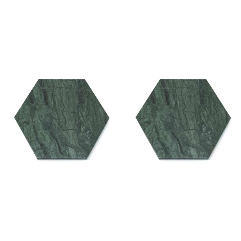 2 šestihranné tácky v bílém, černém nebo zeleném mramoru Vyrobeno v Itálii - Paulo