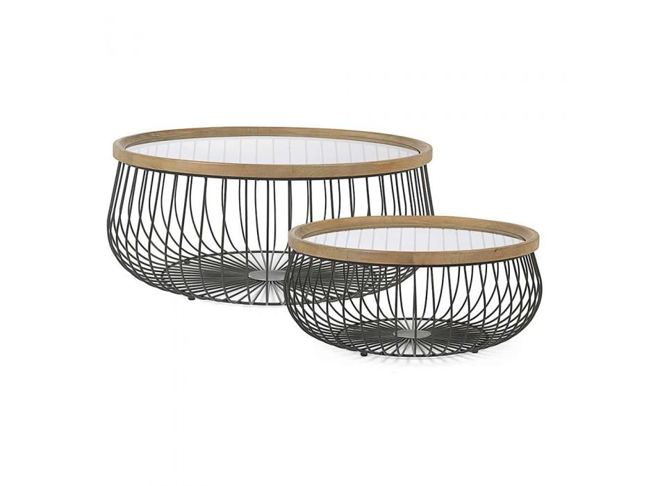 2 konferenční stolky Homemotion s kulatým sklem a dřevěnou deskou - Randolo