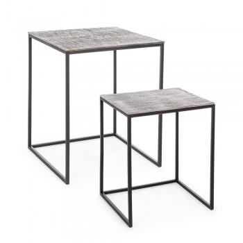 2 konferenční stolky z hliníku a lakované oceli Homemotion - Sereno