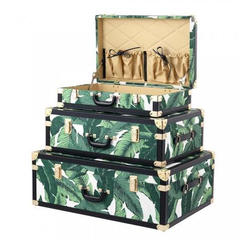 3 designové kufry z MDF a látky s detaily z černé kůže - Amazonia